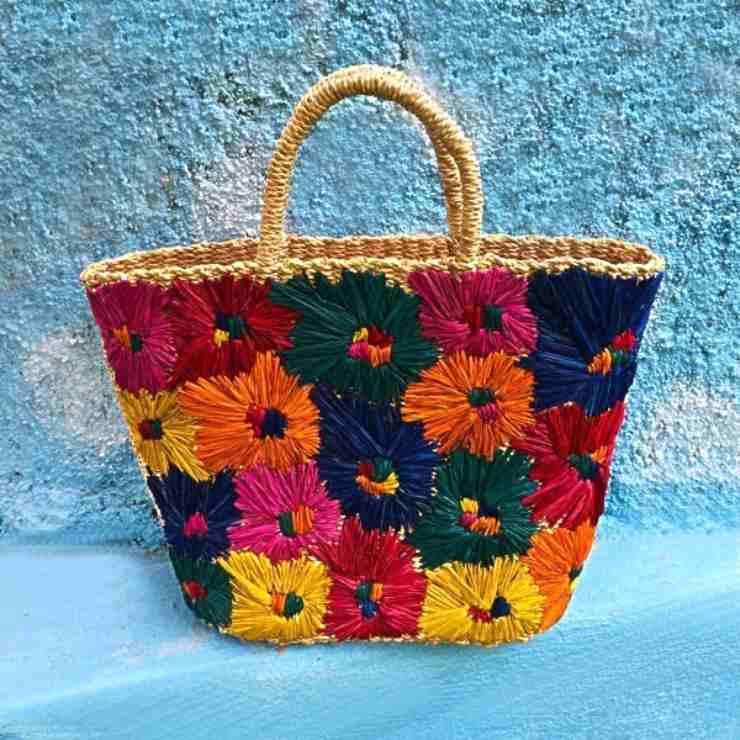borsa in abaca decorata a fiori