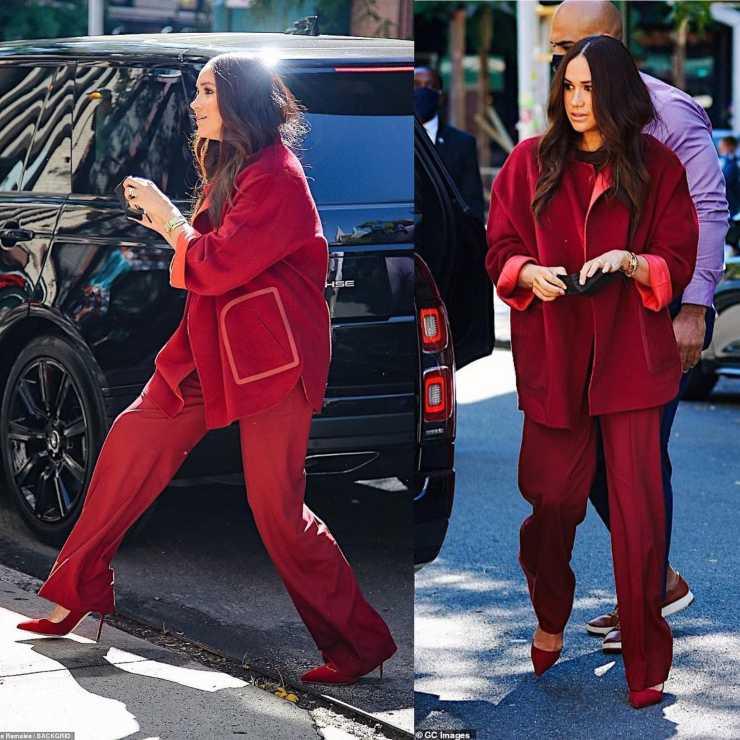 meghan markle cappotto rosso come lo indossa ciaostyle.it