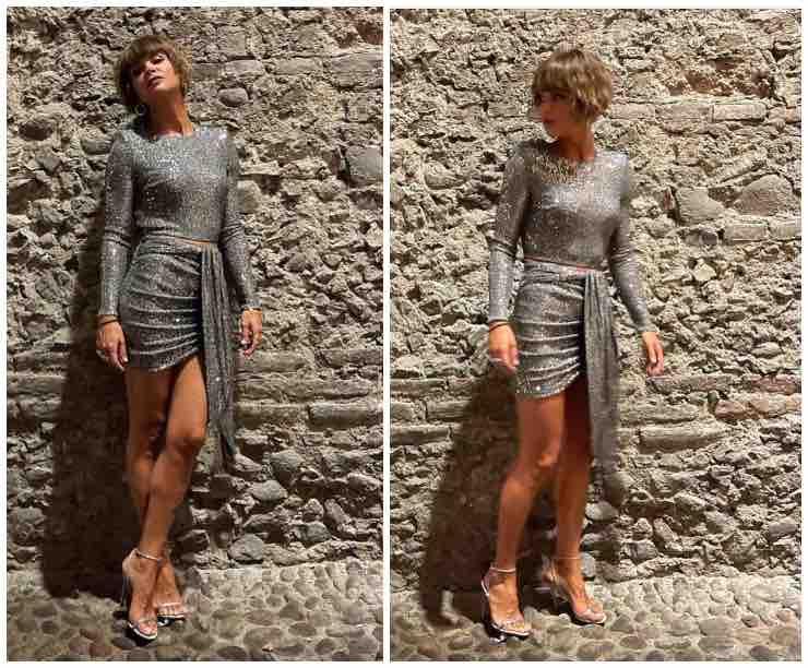Alessandra Amoroso silver dress