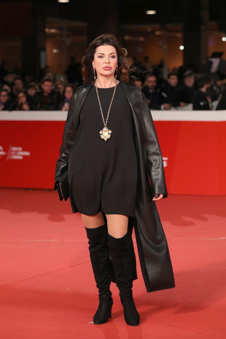 Alba Parietti black dress