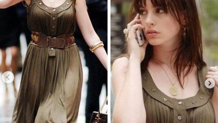 Anne Hathaway sul set di Il Diavolo veste Prada