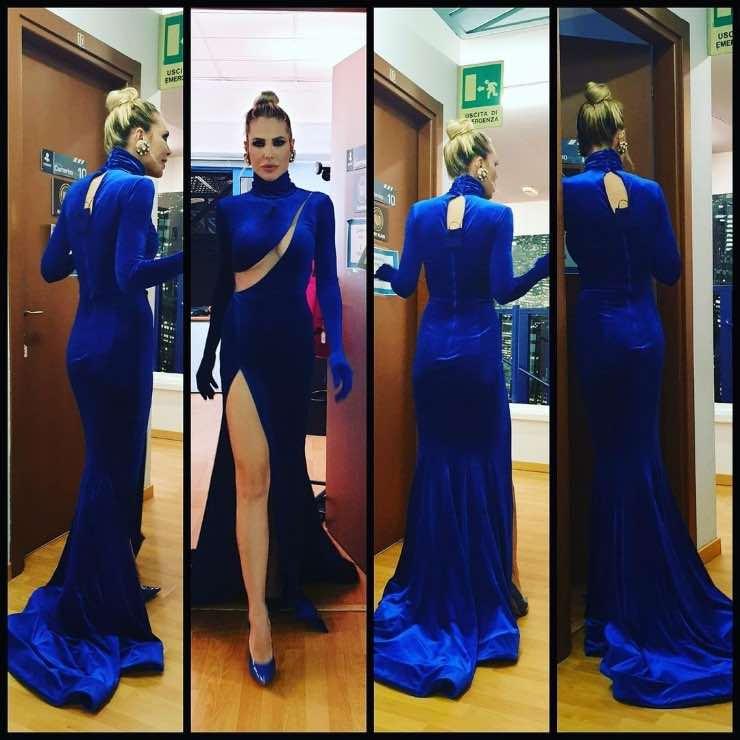 ilary blasi abito blu