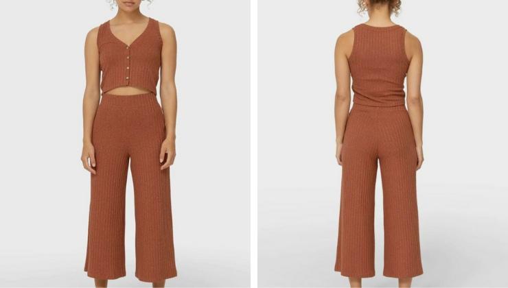 pantaloni culotte colore marrone chiaro