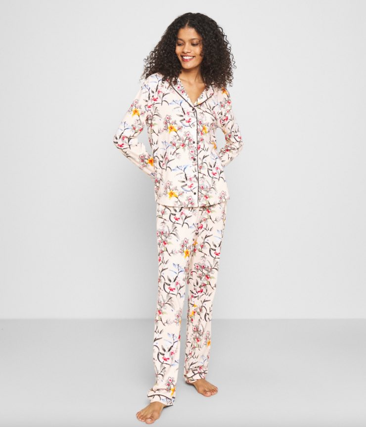 pigiama seta a fiori